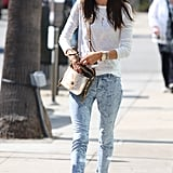 Alessandra Ambrosio's paisley-print jeans were the star of her LA look, while a white long-sleeved tee and white Isabel Marant sneakers lent a fresh touch.