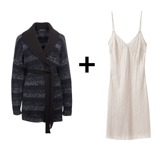 Upgrade a basic white slip with a patterned, wrap-style cardigan; further the seasonal feel with knee-high boots for an easy weekend style.  French Connection Dearede Tweeds Wrap Cardigan ($188) Organic by John Patrick Slip ($120)