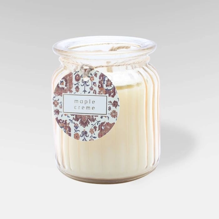 Maple Creme Ribbed Glass Jar Candle