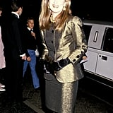 Meryl wore a metallic gold suit with velvet gloves to the 1989 Golden Globe Awards.