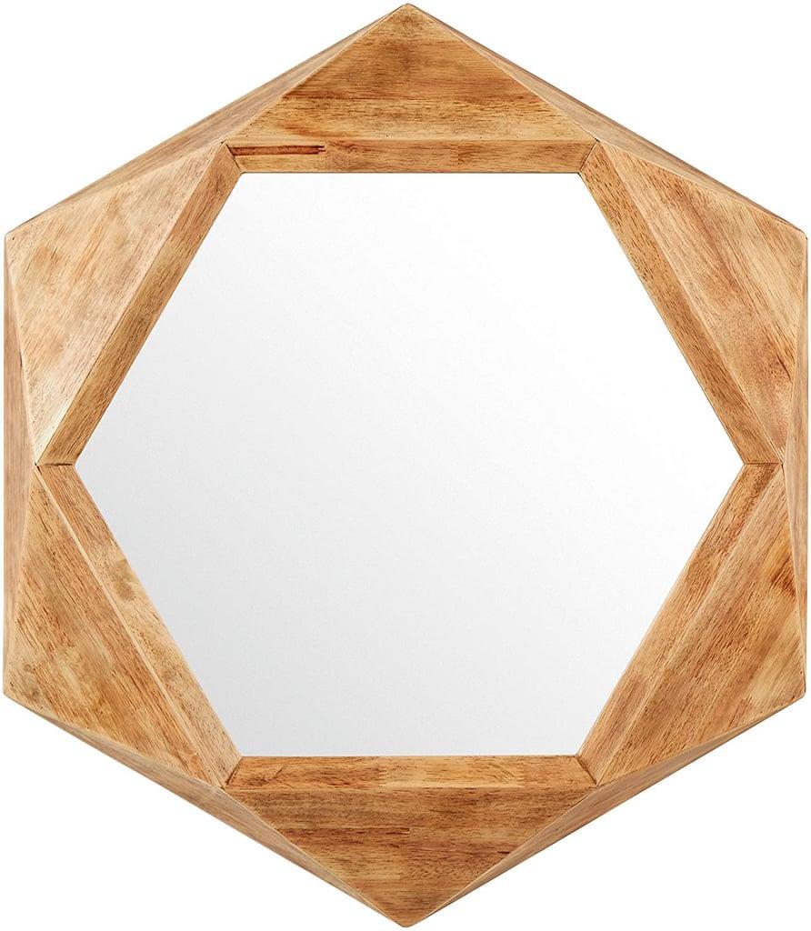 Rivet Modern Hexagon Wood Frame Hanging Wall Mirror