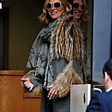 Kate Moss wore a fur jacket while out in London.