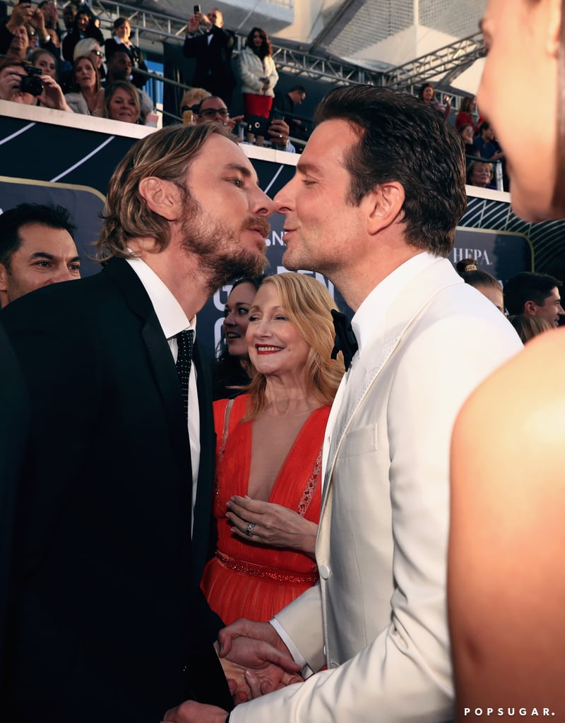 Sure, Lady Gaga and Bradley Cooper make a great duo, but what about Bradley Cooper and Dax Shepard? During the Golden Globes on Sunday, the former costars had a fun reunion on the red carpet. The two costarred in the film Hit and Run alongside Dax's wife Kristen Bell in 2012 and have remained good friends ever since. In addition to mingling with Bradley and his girlfriend Irina Shayk, Dax also shared a hilarious moment with Bradley when he leaned in for a kiss. Patricia Clarkson's reaction pretty much says it all.  Dax did say that Bradley was his new celebrity crush when he appeared on The Ellen DeGeneres Show recently. In fact, he said that he is more than happy to replace Bradley in A Star Is Born. Perhaps Dax was trying to offer ideas for a potential sequel? See their hilarious encounter ahead!       Related:                                                                                                           55 Photos From the Golden Globes Afterparties, Because That's Where the Real Fun Goes Down