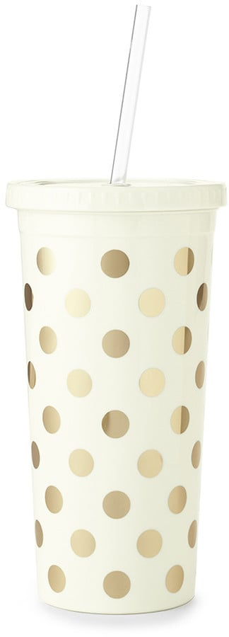 Kate Spade Tumbler with Straw - Gold Dots (£16)