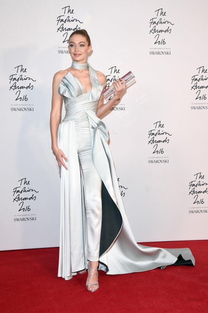 Gigi Hadid in Atelier Versace at British Fashion Awards 2016
