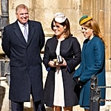 Andrew, Eugenie, and Beatrice showed off big grins at Easter church service in 2013.