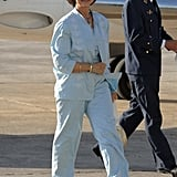 Queen Sofía in a Light Blue Pantsuit, July 2007