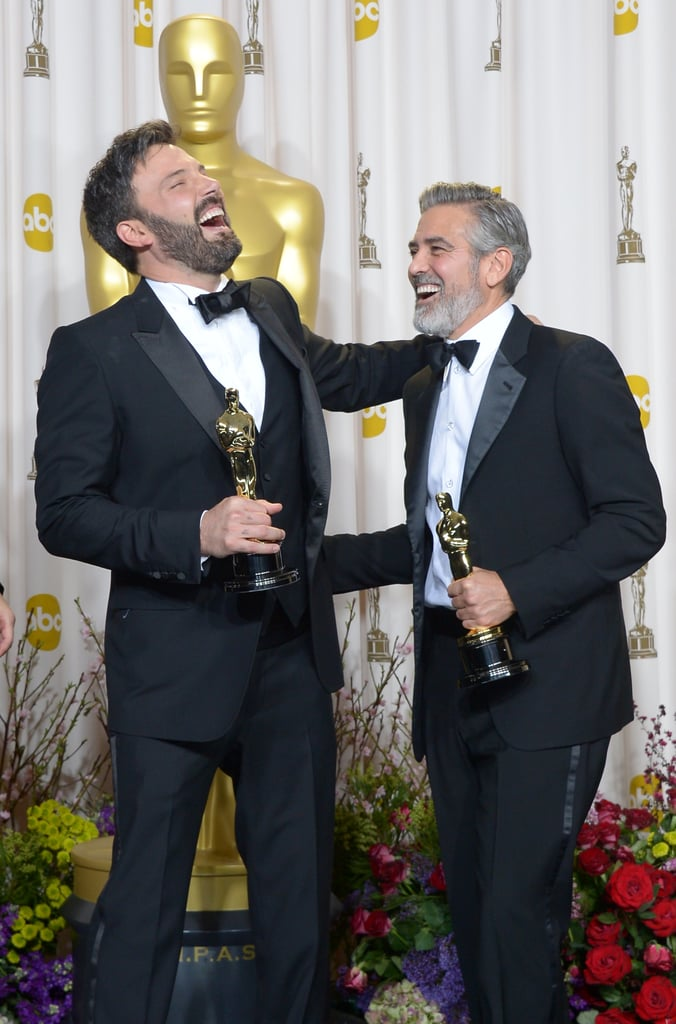 Ben Affleck and George Clooney laughed it up in the press room following their Argo best picture win.