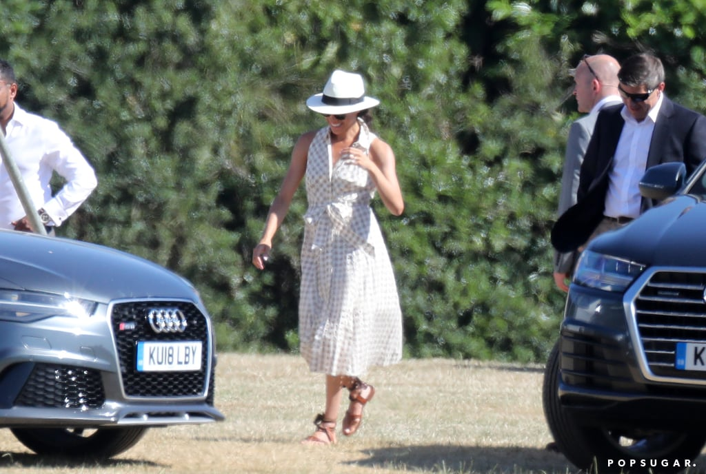 Meghan Markle joined Prince Harry and Prince William at Coworth Park Polo Club in Ascot, England. The Audi-sponsored charity polo match had many stylish guests including Serena Williams. Meghan was spotted chatting with attendees and cheering her hubby on from the sidelines wearing a stunning ensemble.  For the Berkshire event, the royal chose a midi gingham sundress by the New York label Shoshanna. She styled her sleeveless dress with Sarah Flint Grear Sandals ($245) and sunglasses. The Duchess of Sussex topped her breezy look off with a stylish Panama hat that's perfect for the Summer. Read on to get a closer look at her stunning dress and buy similar versions ahead.      Related:                                                                                                           Meghan Markle's Style Isn't Quite Like Kate Middleton's, but It's Still Approved by the Royal Court