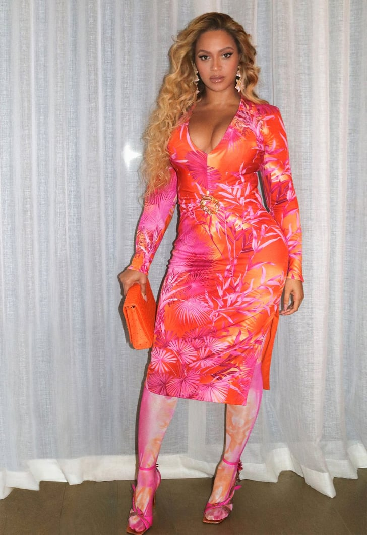Beyoncé Wore Pink and Orange Tropical Print Dress in Miami ...