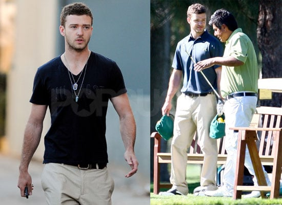 Photos of Justin Timberlake and George Lopez Playing Golf in LA