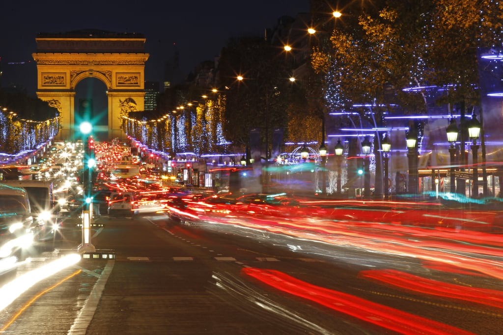 The trees were lit along the Champs-Elysées in Paris.