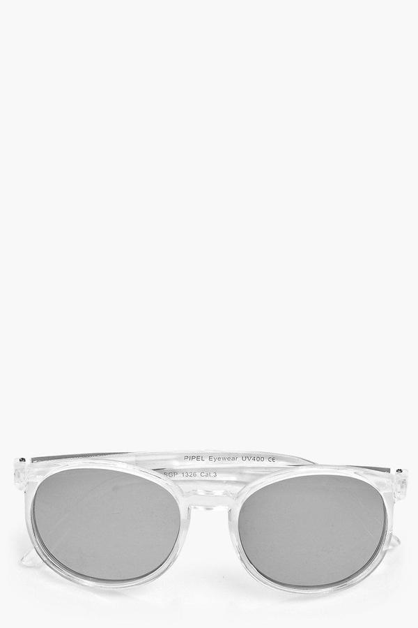 Boohoo Tia Thin Round Clear Frame Revo Sunglasses ($8)