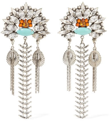 With quintessential Dannijo cool, these Lazarette crystal and cabochon earrings ($545) are all you need to create an on-point outfit.