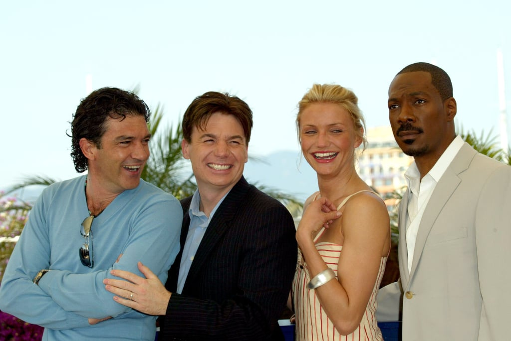 Antonio Banderas, Mike Myers, Cameron Diaz, and Eddie Murphy had a laugh at the Shrek 2 photocall in 2004.