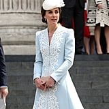Kate Wore a Custom Catherine Walker Coat Dress That Featured Lace Details Along the Front