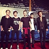 The boys of One Direction hit the red carpet. Source: Instagram user mtv