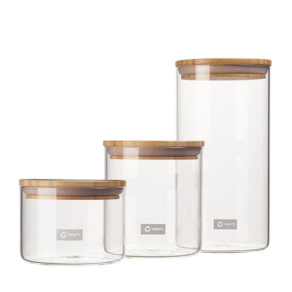 Trinity 3-Piece Glass and Bamboo Canister Set