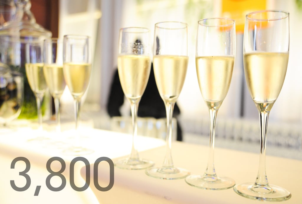 3,800: Champagne flutes that will toast to the festival's 5-year anniversary.