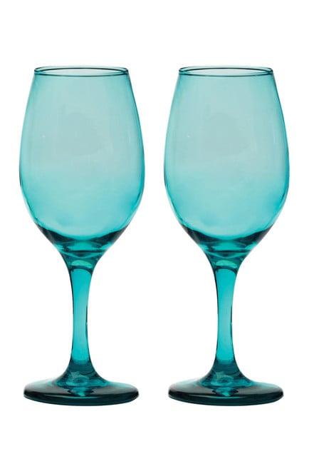Circle Glass Uptown Aqua Wine Glasses (Set of 4) ($15) | 45 ...