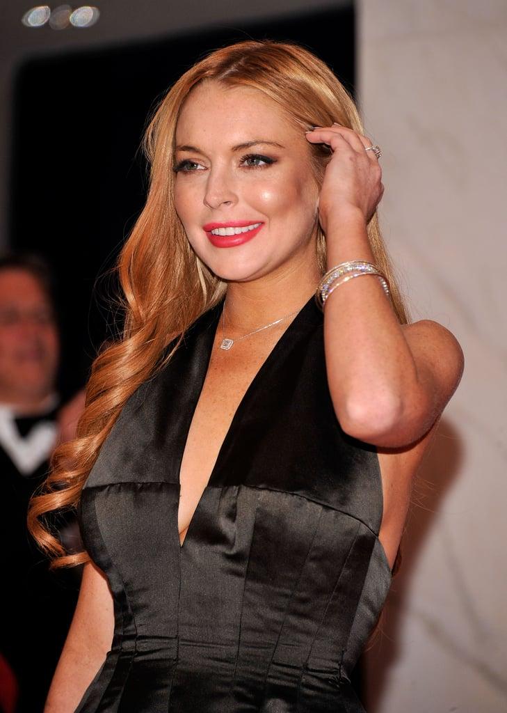 Lindsay Lohan wore a glamorous black dress.