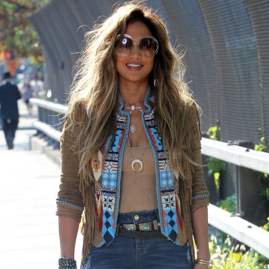 Jennifer Lopez Wearing Flare Jeans in New York