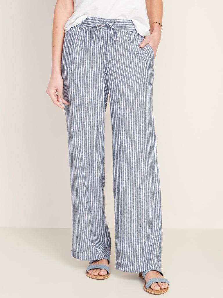Old Navy Mid-Rise Wide-Leg Linen-Blend Pull-On Pants in Blue Stripe