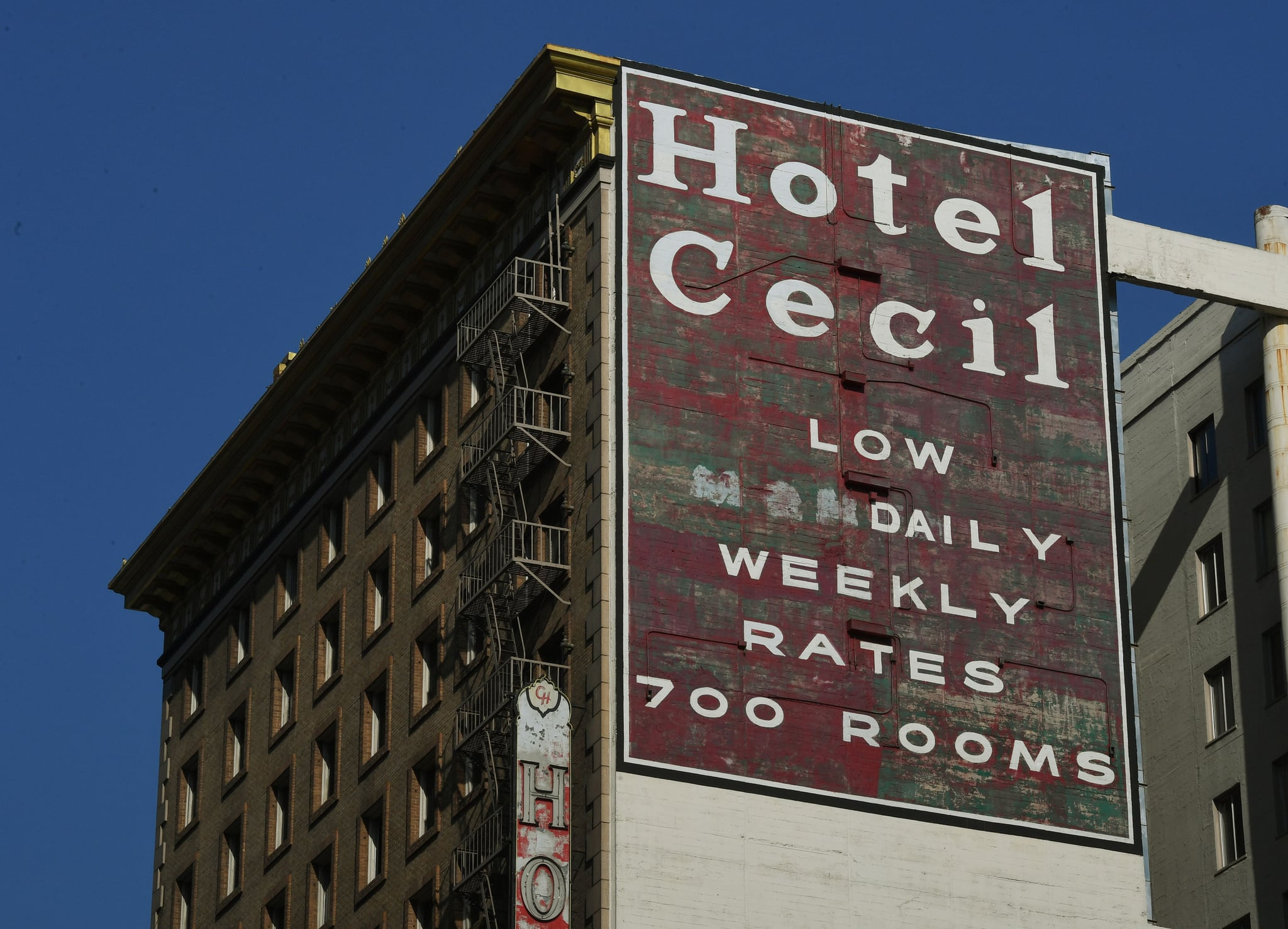 The infamous Hotel Cecil was named a historic-cultural monument by the City Council in a unanimous 10-0 vote in Los Angeles, California on February 28, 2017The hotel, built in 1924,  has been the scene of at least 15 murders and suicides as well as the temporary home of serial killers Richard Ramirez and Jack Unterweger. It's most recent tragedy was when 21-year-old Canadian Elisa Lam's naked body was found in the building's rooftop water tank after guests had complained about the taste of the water.  / AFP / Mark RALSTON        (Photo credit should read MARK RALSTON/AFP via Getty Images)