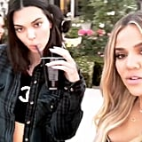 Khloé and Kendall Sipped Drinks in the Backyard