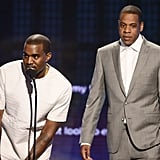 Kanye West and Jay-Z took the stage together at the BET Awards in LA.