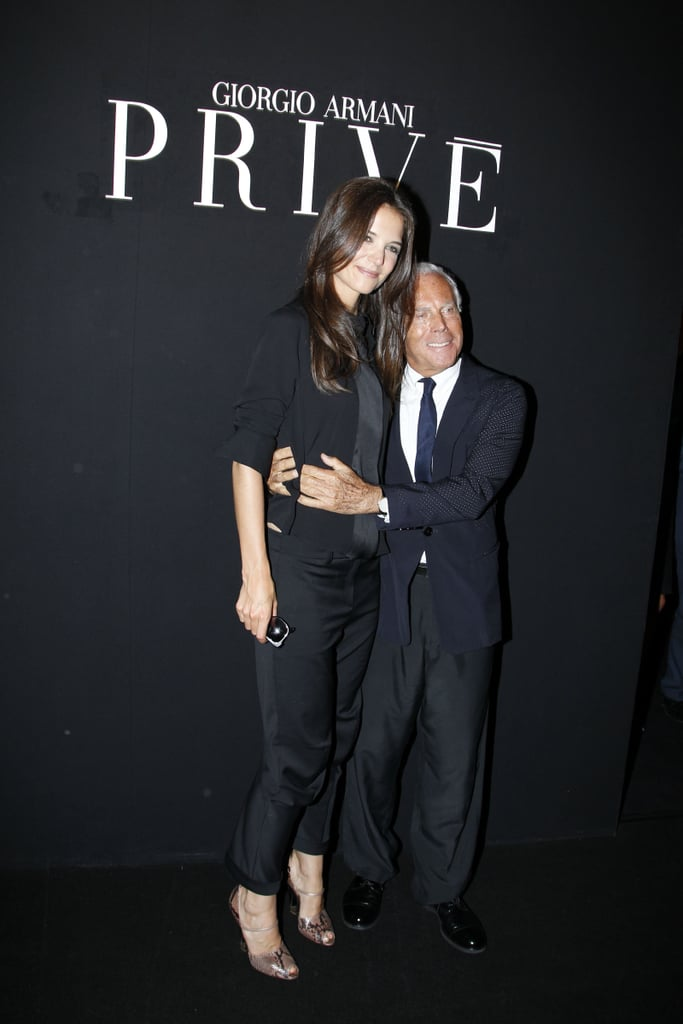 Katie Holmes and Giorgio Armani at his show in Paris.