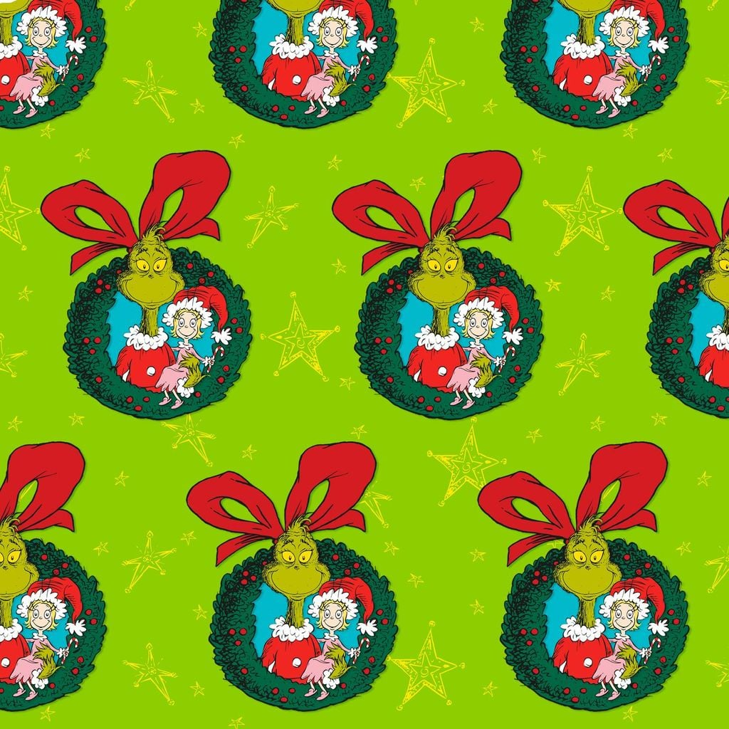 Dr Seuss Christmas.Dr Seuss Grinch Wreaths Jumbo Christmas Wrapping Paper Roll