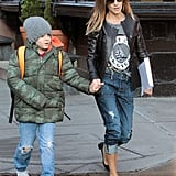 Sarah Jessica Parker walked James Wilkie to school.