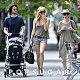 Sienna Miller took a stroll with baby Marlowe, Tom Sturridge, and his mom.