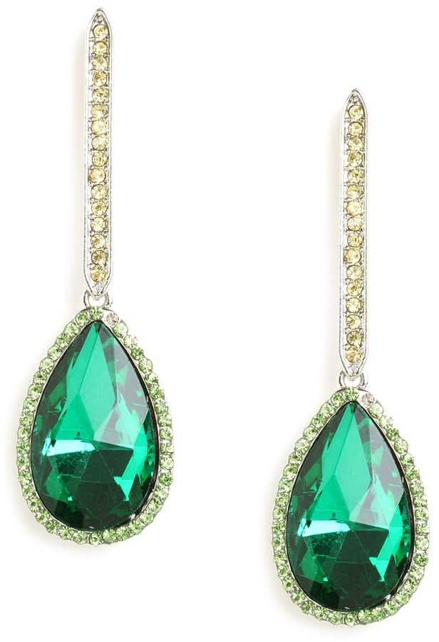 Jazz up a white or cream-colored dress with these pretty BaubleBar Emerald Dangle Drops ($26).