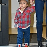 Flynn Bloom was ready for the day in his hat and sneakers.