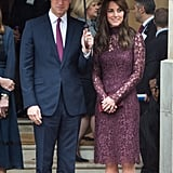 When She Wore a High-Neck Lace to Match Prince William's Plum Tie
