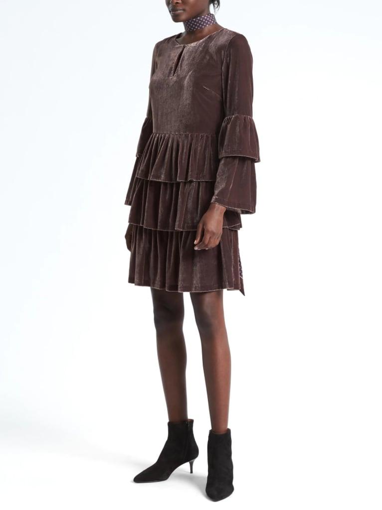 Tiered Velvet Shirtdress