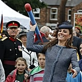 Kate Middleton tried her hand at throwing a foam javelin when she attended a children's sports event at Vernon Park in Nottingham, England, in June 2012.