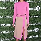 Lily Aldridge dared to wear pink by Michael Kors, tempered with pops of nude, at the 2013 Couture Council Fashion Visionary Awards in NYC. She added OFIRA white diamond and yellow gold earrings for a fancy finish.