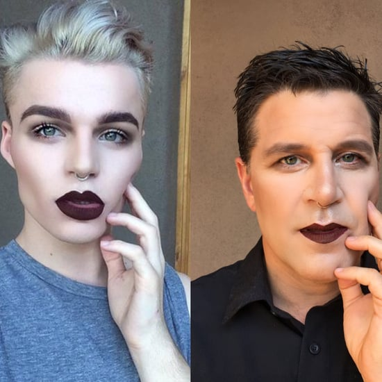 Father and Son Take Makeup Selfie