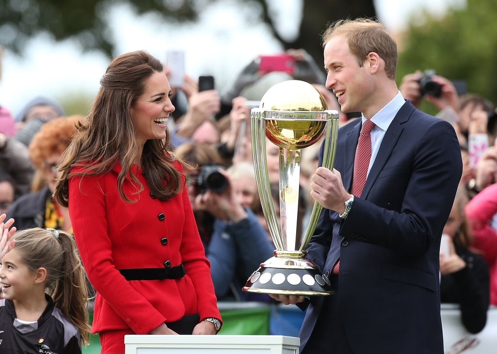 Kate laughed as Prince William lifted the 2015 Cricket World Cup in Christchurch in April 2014.