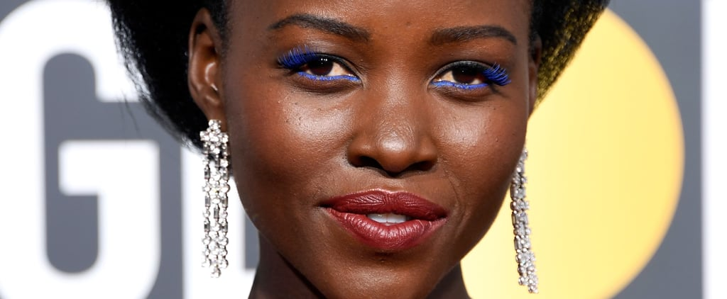 Lupita Nyong'o Golden Globes Blue Lashes 2018