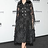 In Milan, Franca Sozzani was lovely in lace at the amfAR gala.