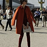 Rust and burgundy hues, plus chic shapes, put a sophisticated spin on this color-rich style.