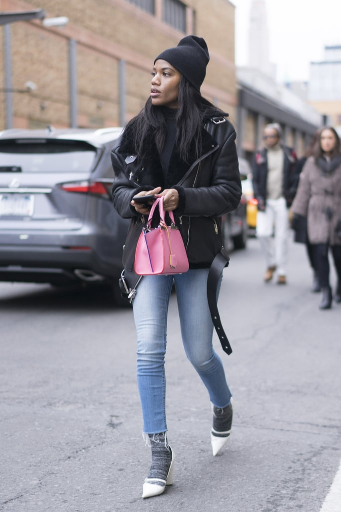 With a Leather Jacket, Black Beanie, Gray Socks, and White Heels