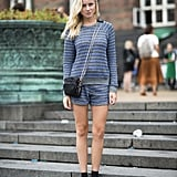 We call this the casual shorts suit, but even in knit the effect is chic.  Source: Le 21ème | Adam Katz Sinding