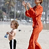 Nicole Richie on the beach with Sparrow for Easter in Malibu.