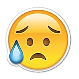 "Interpretation: ""I'm so sad."" Name + meaning: Disappointed but Relieved Face. This Emoji has sweat dripping from its brow, presumably due to a stressful situation. Not to be confused with the Crying Face Emoji, which has a tear on the cheek, instead of a bead of sweat.  Also known as: Eyebrow sweat emoji"