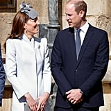 April: Kate and Will were all smiles as they attended an Easter Sunday service with the rest of the royal family.